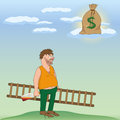 Drinking man cartoon illustration of with a bottle of alcohol who dreams of a sack with money vector illustration Stock Image