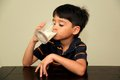 Drinking milk a little boy fresh from a glass Royalty Free Stock Photography