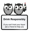 Drinking monochrome comical drink responsibly sign isolated on white background Stock Image