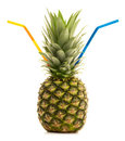 Drinking Pineapple Royalty Free Stock Photo