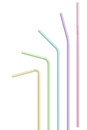Drinking straws colourful bendy isolated over white background Royalty Free Stock Photos