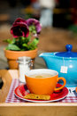 Drinking tea outdoor Stock Image