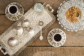 Drinking traditional turkish coffee overhead view of a tray set with cezve for heating the pulverised or ground beans and two cups Stock Photography