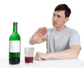 Drinking wine man shows gesture of refusal Stock Photos