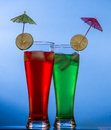 Drinks with beautifull blue background Royalty Free Stock Photography