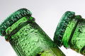 Drinks beer macro photography of two bottles of on white background Royalty Free Stock Images