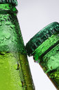 Drinks beer macro photography of two bottles of on white background Royalty Free Stock Photos