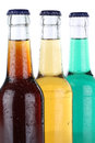 Drinks with cola and lemonade in bottles soft isolated on a white background Royalty Free Stock Photo