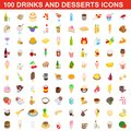 100 drinks and desserts icons set, isometric style