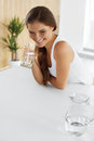 Drinks. Happy Girl Drinking Water. Healthcare. Healthy Lifestyle Royalty Free Stock Photo