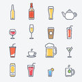 Drinks Icons Set. Trendy Thin Line Design with Flat Elements.