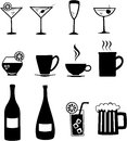 Drinks set of icons of various beverages Royalty Free Stock Photography
