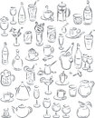 Drinks vector illustration of beverage collection in black and white Royalty Free Stock Photos