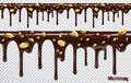 Dripping chocolate with peanut nuts. Melt drip. 3d vector, seamless pattern
