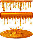 Dripping and splash golden honey or caramel Royalty Free Stock Photography