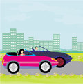Drive a car on a sunny day illustration Stock Images
