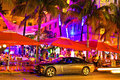 Drive scene at night lights miami beach florida new york usa may ocean in front of cleverlander art deco hotel and bar cars and Stock Photos