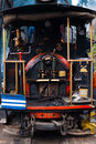 The driver and coal burner area in the rear of the toy train a major tourist attraction in darjeeling india Royalty Free Stock Photography