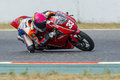 Driver daniel valle mediterranean motorcycling championships barcelona spain july Royalty Free Stock Photography
