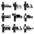 Driver delivery jobs occupations careers a set of pictograms showing the professions of people in the driving and services Royalty Free Stock Images