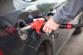 Driver inserting pumping nozzle with gasoline in car Royalty Free Stock Photo