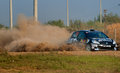 Driver piloting his car at Barsa Rally Stock Images