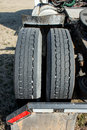 Driver Side Big Rig Tires Royalty Free Stock Photo