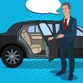 Driver Standing ner Black Limousine. Chauffeur of Luxury Car. Pop Art illustration