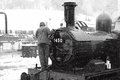Driver on steam train photograph of a a during a blizzard Royalty Free Stock Images