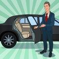 Driver Waiting ner Black Limousine. Chauffeur of Luxury Car. Pop Art illustration