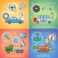 Driverless Car Autonomous Vehicle 2x2 Icons Set Royalty Free Stock Photo