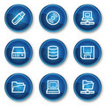 Drives and storage web icons, blue circle buttons Royalty Free Stock Image