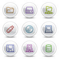 Drives and storage web icons, circle buttons Royalty Free Stock Photo