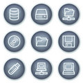 Drives and storage web icons, mineral circle Stock Photography