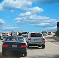 Driving Along The Interstate Highway Stock Photos