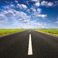 Driving on asphalt road at nice sunny day an empty lovely Stock Images