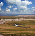 Driving Through the Badlands in a Motorhome Stock Photos