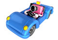 Driving a Blue Convertible car in pink camera Character. Create Royalty Free Stock Photo