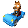 Driving a blue sports car in d horse character d animal chara design series Royalty Free Stock Images