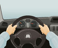Driving of a car. Vector illustration Royalty Free Stock Photo