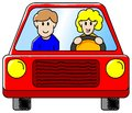 Driving the car vector illustration of a woman and a man in together Royalty Free Stock Photo