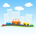Driving in cartoon city Royalty Free Stock Photo