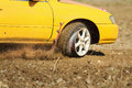 Driving emergency,  burst tyres Royalty Free Stock Photo