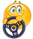 Driving emoticon holding a steering wheel Stock Photos
