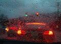 Driving in heavy rain Royalty Free Stock Photo