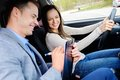 Driving instructor and woman student Royalty Free Stock Photo