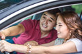 Driving lessons instructor teaches a women Stock Photography