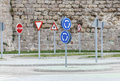 Driving license school track with traffic signs Stock Photo
