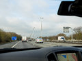 Driving on the m motorway uk approaching junction nr reading west Royalty Free Stock Photography