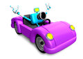 Driving a purple sports car in biue camera character create d robot series Royalty Free Stock Photos